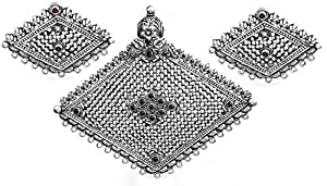Exotic India Rhombus-Shape Pendant with Earrings Set (South Indian Temple Jewelry) - Sterling Silver