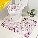 AOLVO 3-Teilig Badteppich Badematten Set, Anti-Rutsch Waschbar & Schnelltrocknend Flanell Toiletten Teppich, Bad Teppich Pedestal Teppich Toilettensitzabdeckung für Badezimmer Toiletten
