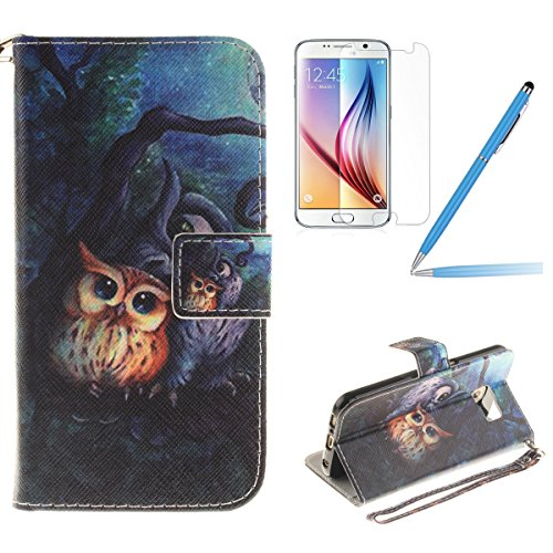 Samsung Galaxy S6 Case, Samsung Galaxy S6 Cover, Samsung Galaxy S6 Leather Wallet Case, Felfy Fashion Lanyard Strap Cute Owl Painted Design Flip PU Leather Wallet Bookcase Stand Function Magnetic Holder with Soft TPU Silicone Inner Bumper Full Protection Cover Case for Samsung Galaxy S6 +1x Screen Protector +1x Blue Stylus