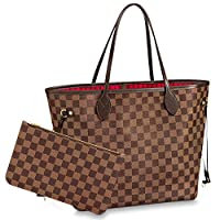 Shoulder Bags & Totes Purse with Inner Pouch,Handbags for Women (Brown Inside Cherry)