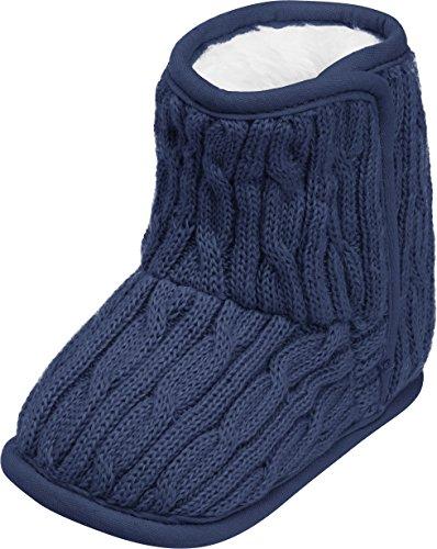 Playshoes gestrickte Baby-Schuhe mit Klettverschluss,Blau (marine),18/19 EU