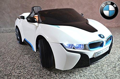 Montar-en-el-coche-coche-elctrico-BMW-i8-iVision-licencia-con-motores-de-2x-12V-asiento-de-cuero-blanco