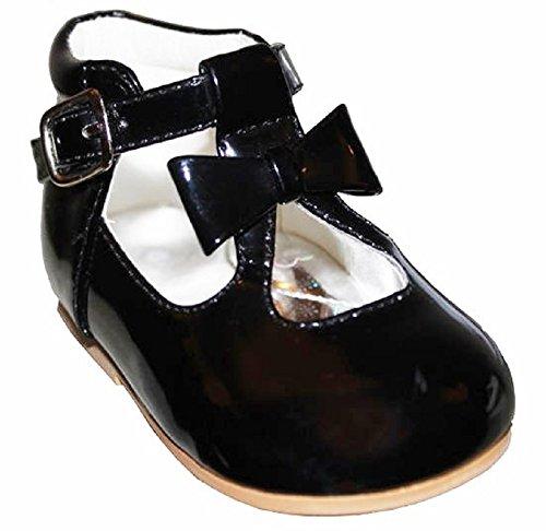 Schuhe für Mädchen, Kleinkinder, glänzend, Lackschuhe, mit Schleife, in spanischem Stil, Weiß/Schwarz/Creme/Pink/Rot, für Party, Hochzeit, rutschfeste Lauflernschuhe 21201, Schwarz - Schwarz  - Größe: 23 EU