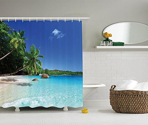 Violetpos Palmen Himmel Strand Duschvorhang Badezimmer Dekorative 180 x 200 - Palme Duschvorhänge