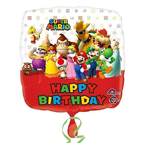 Amscan 3200901 Super Mario Bros Happy Birthday Folie (Party Supplies Mario Bros Super)