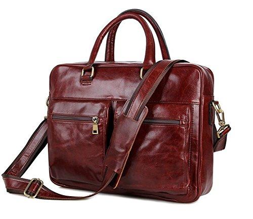 Everdoss Herren echt Leder Aktentasche Umhängetasche Schultertasche Businesstasche Handtasche Laptoptasche rot