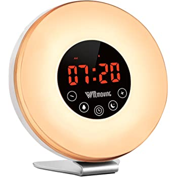 Alarm Clock,Witmoving Wake Up Light Bedside Sunrise Simulator with Brightness Automatic Adjustment, Nature Sounds ,FM Radio,Night Light,Easy Set Up via Touch Control,Powered by Battery or USB Charger