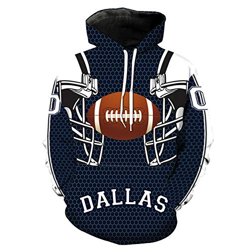 Herren Dallas Cowboys Print Pullover Langarm Hoodie Mit Tasche,A,L (Dallas Stars Kostüm)