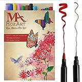 Set de rotuladores con doble punta de pincel- 12 colores - alta calidad, crea un efecto acuarela - Ideal para libros para colorear para adultos, manga, comic, caligrafía - MozArt Supplies - MozArt Supplies - amazon.es