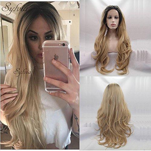 Haute qualité Blond ombré Body Wave Perruques avec racines foncées gratuit Parting Aspect naturel Corps ondulés synthétique Lace Front Perruque résistant à la chaleur Fibre Cheveux
