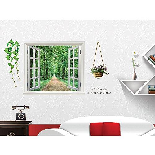 Pegatina de pared adhesiva ventana y bosque efecto 3D