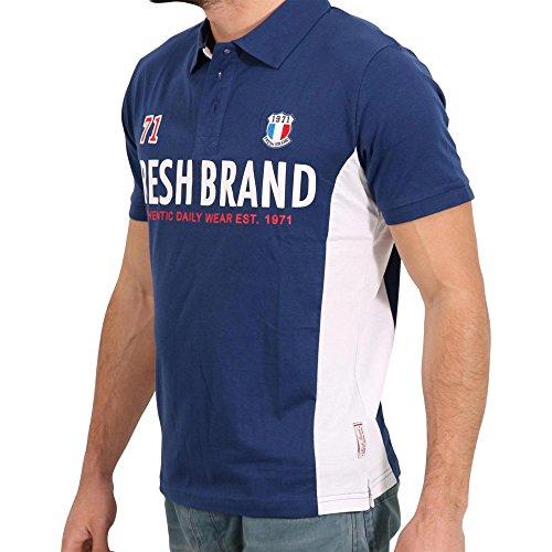 FRESH BRAND Herren Kurzarm Polo Shirt in Dunkelblau Blau