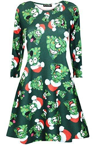 Oops Outlet Damen Langärmlig Weihnachten Pom Pom Hut Tree Schlaghose Bedruckt Aufgeweitet Swing Minikleid Weihnachten Hat Bäume