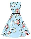 ZhuiKun Kleider Damen 50s 60s Audrey Hepburn Stil Splice Kleid Hellblau S