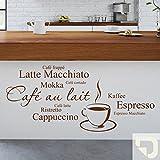 DESIGNSCAPE® Wandtattoo Kaffee Variationen: Cappuccino, Espresso, Café au lait, Mokka, Latte Macchiato, Ristretto, Café frappé, Café latte... 100 x 45 cm (Breite x Höhe) creme DW803044-L-F102
