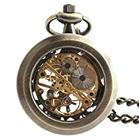 Joielavie Classical Pocket Watch Hollow Skeleton Mechanical Movement Without Cover Alloy Single Chain Watches Gift For Men Women