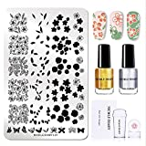 NICOLE DIARY Nail Stamping Kit 1Pc FLOWER Butterfly XL Nail Stamp Plate (14,5 cm 9,5 cm) + 2 Pz Stamping Polish + Clear Jelly Silicone Nail Stamper con cappuccio e raschietto Strumenti per nail art