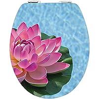 DIAQUA-abattant wC-brillant-avec système de fermeture amortie slow motion motif lotus en mDF 100 %  fSC, 47 x 37,8 cm 31171701
