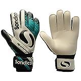 Sondico Mens Gents Match Goalkeeper Gloves Mesh Finger Separation Embossed Back (White/Teal, 10)