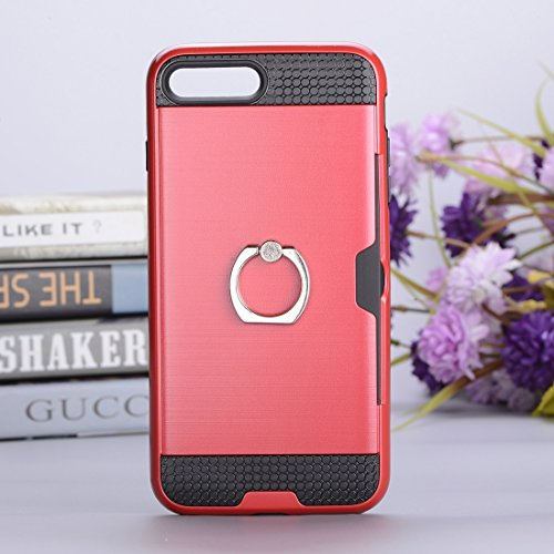 Hülle für iPhone 7 plus , Schutzhülle Für iPhone 7 Plus Texture Metall Schutzmaßnahmen zurück Fall mit Ring Halter Stand & Card Slot ,hülle für iPhone 7 plus , case for iphone 7 plus ( Color : Blue ) Red