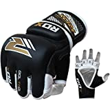 RDX Cow Hide Leather Grappling MMA Gloves Gel Cage UFC Fighting Sparring Glove Training T2GL