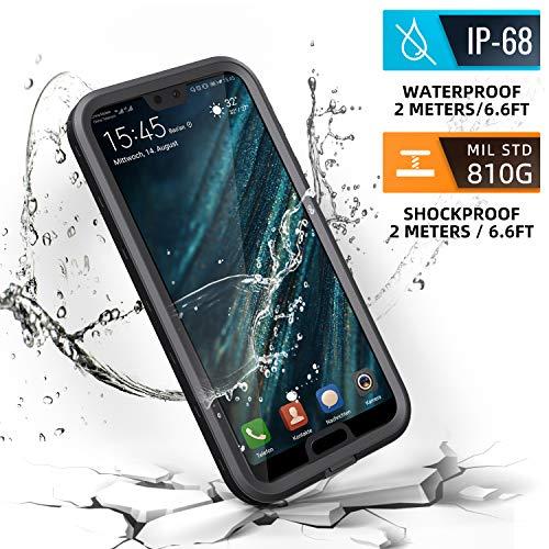 Meritcase Huawei P20 Hülle, IP68 Wasserdicht Stoßfest Staubdicht Schneefest Ultradünn Leicht Handyhülle Outdoor Unterwassergehäuse Full Body Schutzhülle für Huawei P20 (Schwarz)