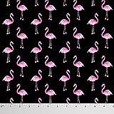 Soimoi Flamingo Druck 60 GSM Schneiderei Baumwollgewebe für das Nähen durch das Messgerät 58 Zoll breit - Schwarz