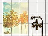 creatisto Küche Bad Fliesentattoo | Dekor-Fliesen Badfliesen ergänzend zu Kühlschrankmagnet Wandtattoo | 20x25 cm Design Motiv Sun Flair - 9 Stück