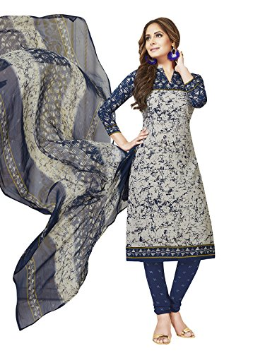 Jevi Prints Women's Unstitched Synthetic Crepe Grey & Blue Abstract Printed Salwar...