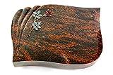 Generic Grabplatte, Grabstein, Grabkissen, Urnengrabstein, Liegegrabstein Modell Eterna 40 x 30 x 7 cm Aruba-Granit, Poliert inkl. Gravur (Bronze-Color-Ornament Rose 4)