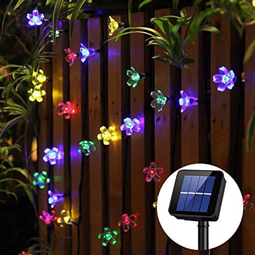 Panpany 50 LED Sternen Solar Lichterkette 6.8m Outdoor Lichter Multi-color Weihnachtskugel Licht für drinnen , Garten, zuhause, Rasen, Party oder Feriendekoration