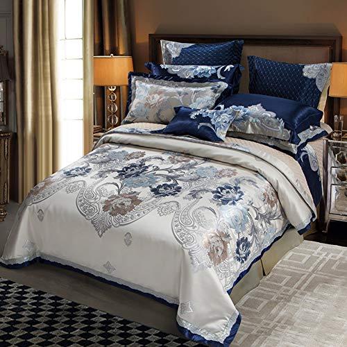 JR%L Zuhause 10 Stück Jacquard Bettdecken-Sets, Faux Seide Bett In Einem Beutel Betten Klassisch Bettwäsche Set Bettwäsche Bettrock Dekorative Kissen Shams-b Queen2 -
