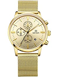 Para hombre m2011gg negocio Formal de aleación de calendario cuarzo reloj de pulsera para hombre de acero inoxidable dorado