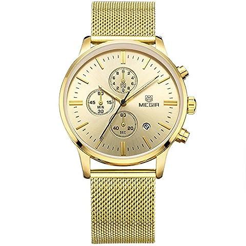 Herren m2011gg Edelstahl Kalender Legierung Business Formale Quarz Armbanduhr für Mann Gold