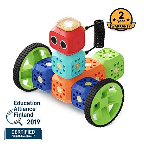 Robo Wunderkind Roboter Baukasten - Baue und Programmiere Roboter - Mint Spielzeug für 5-10-jährige Kinder - Kompatibel mit Lego - 2 gratis Apps mit Programmierideen und Tutorials
