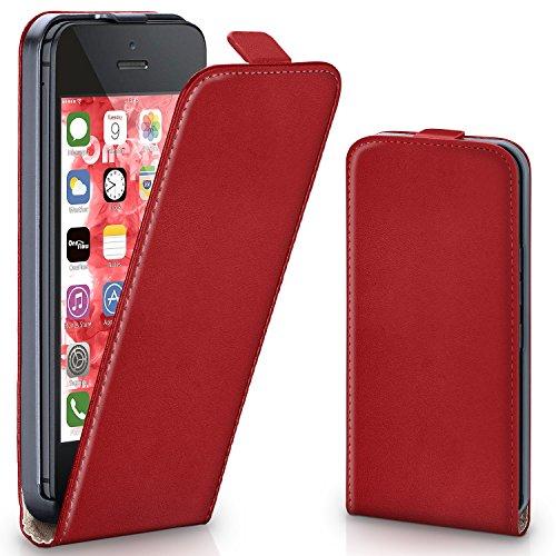Pochette OneFlow pour iPhone 5 / 5S / SE housse Cover magnétique | Flip Case étui housse téléphone portable à rabat | Pochette téléphone portable téléphone portable protection bumper housse de protection avec coque en BLAZING-RED