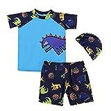 3PCS Toddler Kids Boy Swimming Suit,Vovotrade Newborn Cartoon Dinosaur Print Swimwear Short Sleeve Tops +Shorts+Hat Swimming Costume 2019