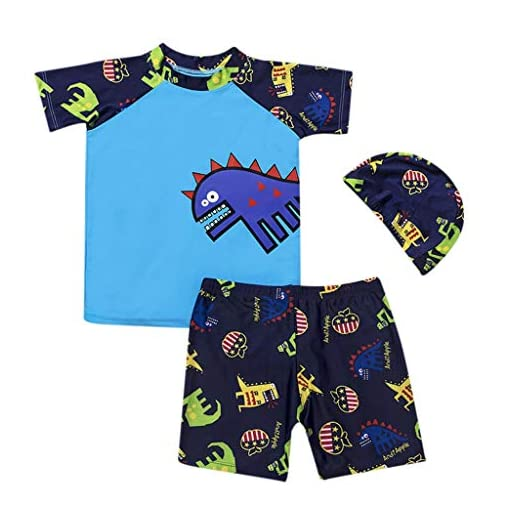 3PCS-Toddler-Kids-Boy-Swimming-SuitVovotrade-Newborn-Cartoon-Dinosaur-Print-Swimwear-Short-Sleeve-Tops-ShortsHat-Swimming-Costume-2019