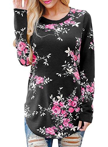Zum Shop · Yidarton Herbst Bluse Damen Langarm Shirt Pullover Floral Splice  Printing Rundhals Tops T Shirt Oberteil ( 9b8f2eb0f2
