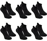 BRUBAKER Chaussettes de sport - Lot de 6 Paires - Talon renforcé et Languette douce - Anthracite avec logo noir - EU 35-38