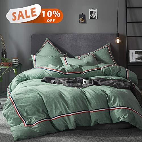 Joyreap 3-teiliges Bettwäsche-Set aus Baumwolle King(1 Duvet Cover + 2 Pillow Shams) dunkelgrün