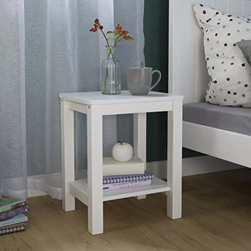 Homestyle4u 1827 Beistelltisch Nachttisch aus Holz Weiß rechteckig Schlafzimmer Couchtisch Wohnzimmertisch 47 cm hoch