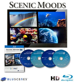 BluScenes: 4-Disc Blu-Ray Collection Coral Reef Aquarium, Majestic Waterfalls, Underwater Cozumel, Journey Through Space
