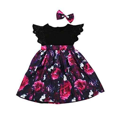 Amlaiworld Mono Bebé, Bebé Niñas Floral Princesa Vestido Hermana Ropa Conjunto 0-24 Meses (6-7 Años, Nergo)