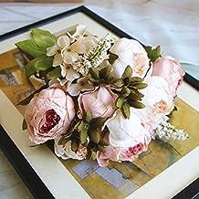 SHINE-CO Artificial Flores Peonía de Seda 1 Ramo Gloriosa Decoración para Boda Fiesta Navidad del Hogar o Exterior (Rosa Claro)