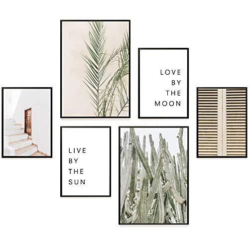 Heimlich® Premium Poster Set | Stilvoller Mix an passenden Bildern für Dein Zuhause | ohne Rahmen » Sun & Moon « (Kostenloser Versand Poster)