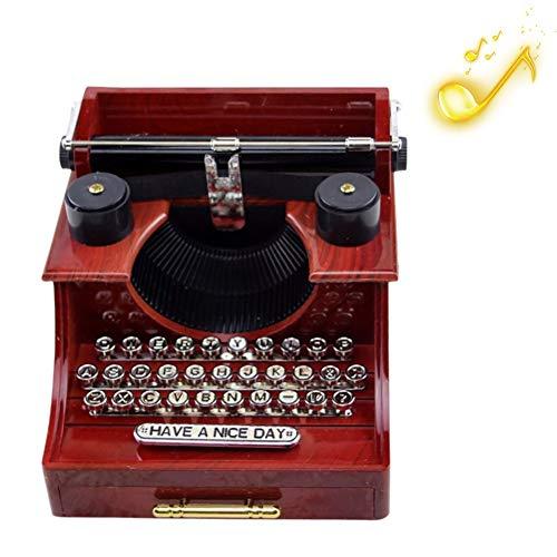 Surenhap Vintage Spieluhr, Schreibmaschine Design Spieluhr Musik Box Geschenk für Familie/Büro/Studie Deko (Schreibmaschine)