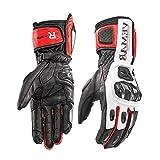 Akku beheizbarer Motocross Motorradhandschuhe Winter Motorrad Biker Handschuhe Leder Protektoren Schwarz Herren Damen Unisex,Red,XL