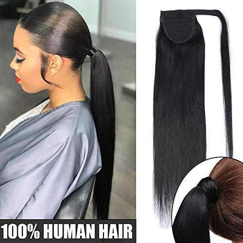 Extension coda di cavallo capelli veri remy umani #1 jet nero - clip in hair lunghi naturali lisci 100% human hair fascia unica ponytail wrap updo 50cm 95g