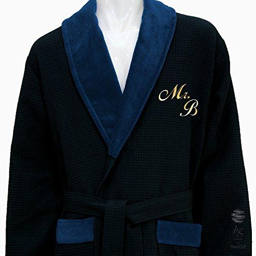 Personalisierte Monogramm + Namen blau Waffel Schalkragen Bademantel–100% Baumwolle, 100 % Baumwolle, blau, L (Schalkragen-waffel-bademäntel)